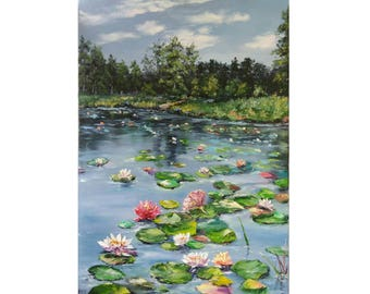 Oil painting, Paintings, Landscape, Nature, Lily Lake, Picture Art, Canvas, Knife, Lake of water lilies, 70x50 cm, Free shipping !