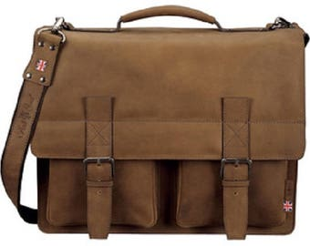 Shoulder bag with notebook compartment, leather, light brown