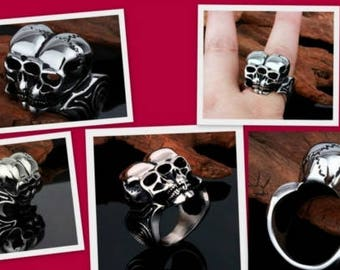 """Alexander Mcqueen """"INSPRIED' Siamese Skull Ring"""