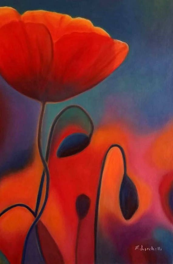 Poppies by night, Original oil by Francesca Licchelli, A5 giclee fine art print, contemporary art, gift idea for her, home office decoration