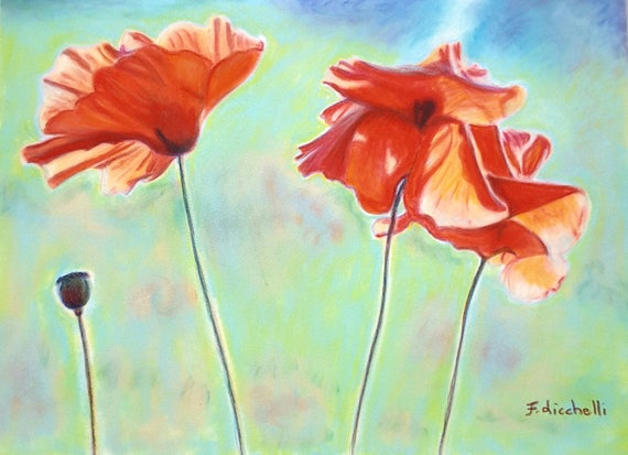 Poppies in the meadow, giclee fine art print, A6, original painting, wall decoration, home, office art, gift idea for her birthday, bedroom.