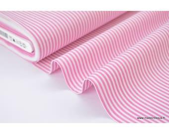 Fabric Poplin cotton woven stripes dyed colours fuchsia X 50 CM