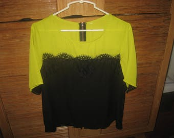 Black Lace/Black & Chartreuse/Yellow Green Sheer Top Size 8/10
