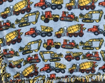 Construction Vehicles Fleece Tied Edge Baby Blanket/Toddler Throw Construction Bedding Toddler Gift Baby Gift Baby Shower