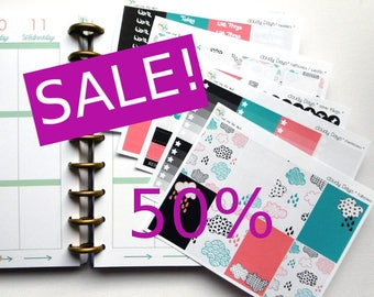 SALE - weekly kit - cloudy Days (Erin Condren and Happy Planner Stickers)
