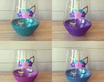 Unicorn stemless style glass Unicorn glasses with glitter base
