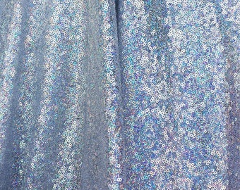 Silver Iridescent Sequin Fabric, Glitters Sequins Fabric for Dress, Full Sequin on Mesh Fabric, Silver Iridescent Sequins Fabric by the Yard