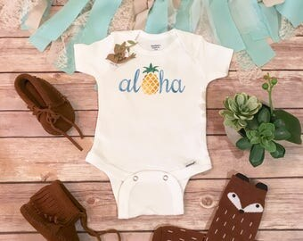 Aloha Baby Onesie®,  Baby Shower Gift, Pineapple Baby Onesie, Hipster Baby, Cute Baby Clothes, Hawaii Baby Onesie, Baby Boy Clothing