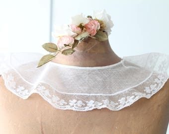 Vintage white french collar, necklace collar, french embroidery, lolita clothing, victorian clothing, handmade collar