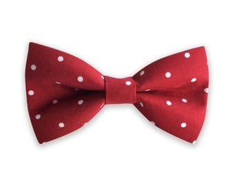Red Polka Dot Bowtie, Dog Collar Bow Tie, Dog Bow Tie, Collar bow tie, bow tie for collar, bow tie for collar, hidden strap