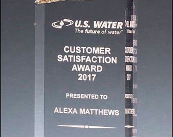 Freestanding Iceberg Acrylic with Gold Accent - Laser engraved - Free engraving - Recognition Award