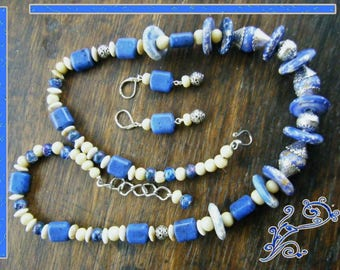 Denim Blue necklace and Earring set
