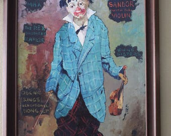 "Charles Wilton Oil Painting ""Clown"""