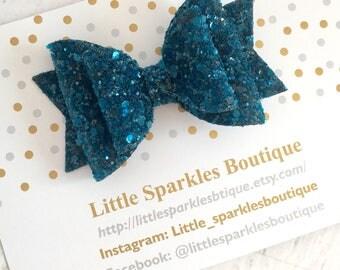 Teal glitter hair bow, teal hair bow,glitter bow,baby bow, baby/ girl hair bow