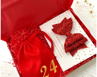 Red glitter bow, silver glitter bow,gold glitter bow,baby/girl hair bow, christmas bow, Christmas Eve box