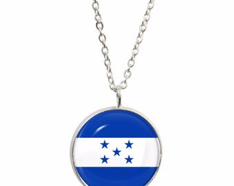 Honduras Flag Pendant and Silver Plated Necklace