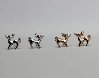Deer Stud Earrings / doe earrings, fawn earrings, bambi earrings, cute deer studs, ska deer, animal jewelry / E0-47