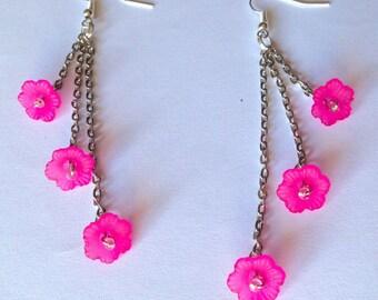 Long earrings with handmade Fuchsia flowers