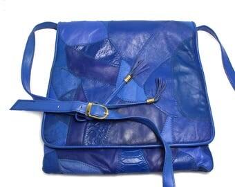 Vintage 1980s Purple Leather Patchwork Purse