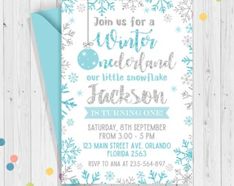 winter onederland invitation boy winter onederland party snowflake birthday party first birthday blue - Winter Onederland Party Invitations