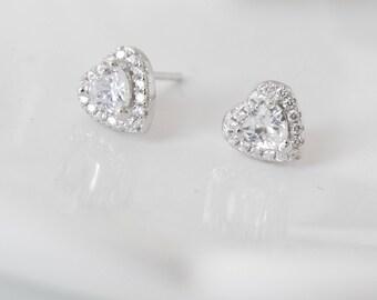 Crystal Heart Earrings, Sterling Silver Heart Earrings, Rhinestone Earrings, Bridal Earrings, Bridesmaids Earrings,