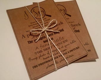 Rustic I spy Wedding Game cards