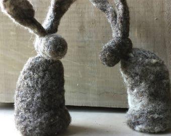 Infant Toy, Felted Rabbit Baby Toy, Needle Felted Animal, Needle Felted Bunny Rabbit