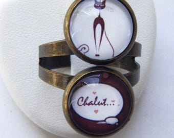 Brown cat ring double cabochon