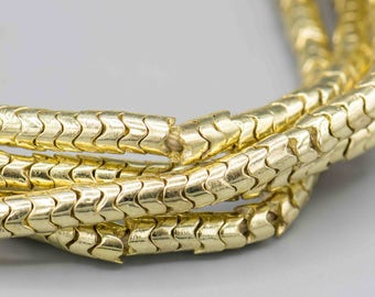 100 Gold Plated Snake Beads 6mm