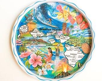 Vintage metal tray Hawaii colors, Vintage drinks tray, Colorful Vintage tray, Vintage metal serving tray