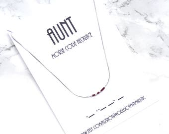 AUNT morse code necklace, choker necklace, thin dainty necklace, morse code jewelry, morse code bracelet, aunt gift, brides made gift