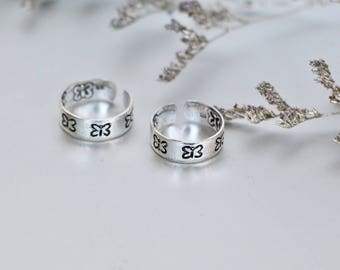 Silver Toe Ring, Butterfly Silver Toe Band, Adjustable Toe Ring, Minimalist Toe Ring, Gift Toe Ring, Bohemian Toe Ring, Feet Jewelry, (TS50)