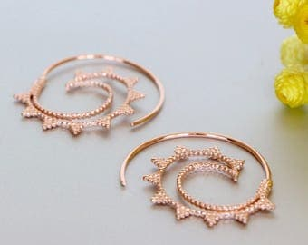 Rose Gold Spiral Ear Hoops, Rose Gold Dipped Hoops, Boho Ear Hoops,Funky Hoops, Piercing Hoops, Ear Wires, Ethnic Earrings, (E144)
