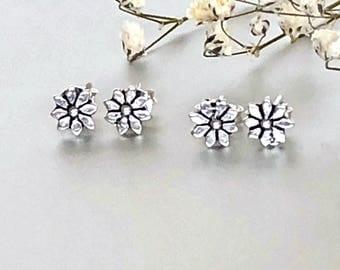 Silver Aster Flower Ear Studs, Silver Studs, Bohemian Jewelry, Cute  Earrings ,Gift Earrings, Pretty Ear Studs (E156)
