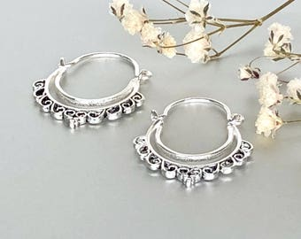 Indian Ear Hoops, Sterling Silver Bohemian Hoops, Silver Hoops, Piercing Hoops, Tribal Earrings, Ethnic Earrings,(E168)