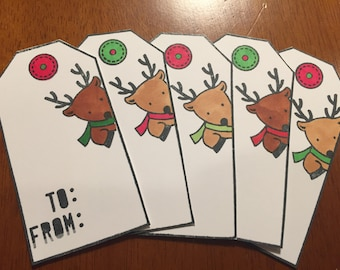 Peeking Reindeer Christmas tags (5)- Reindeer Family