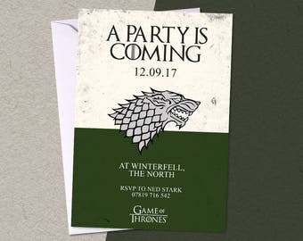 12 GAME OF THRONES Personalised Birthday Party A6 Invitations with/without envelopes