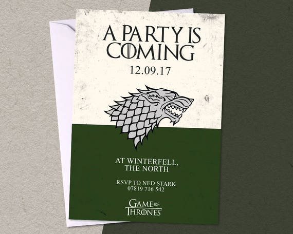 12 game of thrones personalised birthday party a6 invitations filmwisefo Choice Image