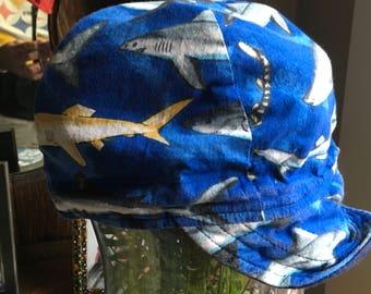 Shark Welders Cap Vintage Bikers Mechanics Painters Skull Hat Fish Marine