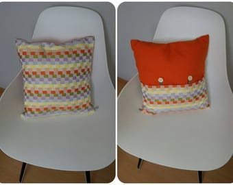 Orange, purple and grey geometric patterned pillow cover