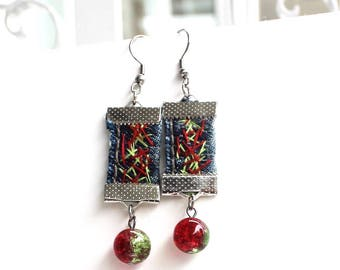 Earrings made of recycled jeans