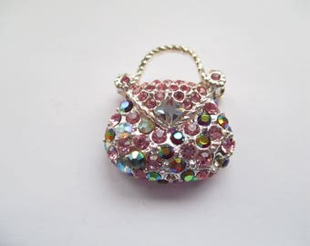Silver tone Handbag Brooch with Multicoloured Rhinestones, Handbag pin, Handbag, Multicoloured Jewelled Handbag