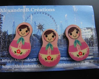 3 Russian dolls wooden 30 mm x 17 mm