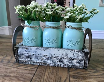 Mason jar home decor - Mason jar centerpiece - Mason Jar table decor - Rustic Mason jar centerpiece - Rustic Home decor - mason jar decor