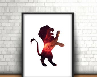 Gryffindor Lion Harry Potter Inspired Art Print Filled With Galaxy Nebula Space. Hogwarts House Art