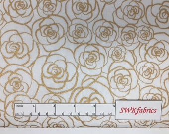 Metallic Gold Roses Fabric, Metallic Gold Fabric, Fabric by the yard, Fat Quarter, Quilting Fabric, Apparel Fabric, 100% Cotton Fabric, F-10