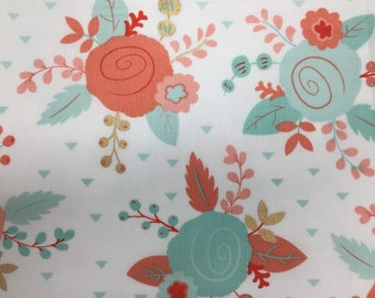 Floral Fabric, Coral Gold and Mint Roses Fabric,  Fabric by the yard, Fat Quarter, Quilting Fabric, Apparel Fabric, 100% Cotton Fabric, F-1