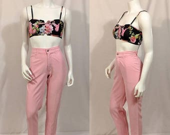 20% Off Summer Sale Vintage Pink Cigarette Pants, Rockabilly Pants, High Waisted Trousers, Skinny Tapered Legs