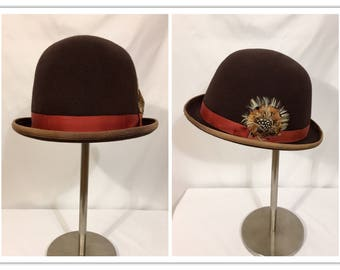 Vintage Bowler Hat, Vintage Derby Hat, Men's Vintage Hat