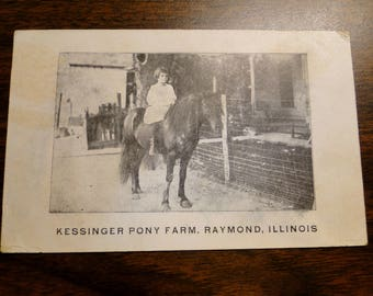 Raymond IL RPPC Raymond IL Postcard Post Card - Kessinger Pony Farm Raymond Illinois - Great Photo Photographic Image!